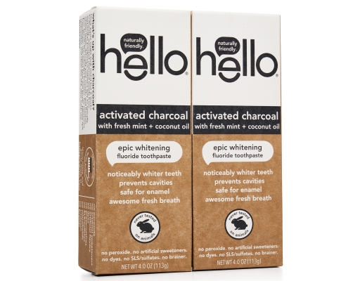 Hello Activated Charcoal Whitening Fluoride Toothpaste 2 X 4 Oz